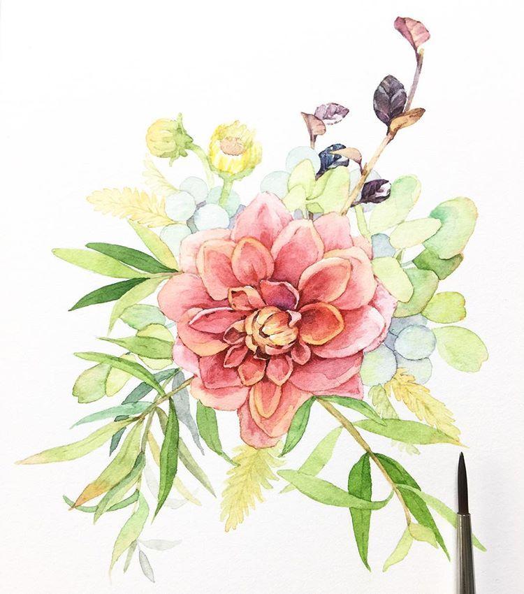 오늘도 겨울 일러스트 포인세티아 꽃 꽃그림 식물 수채화 그림 일러스트 겨울 크리스마스 일러스트레이터 Aquarelle Watercolor Watercolour Waterblog Artshow Flowers Art 그림 수채화 꽃
