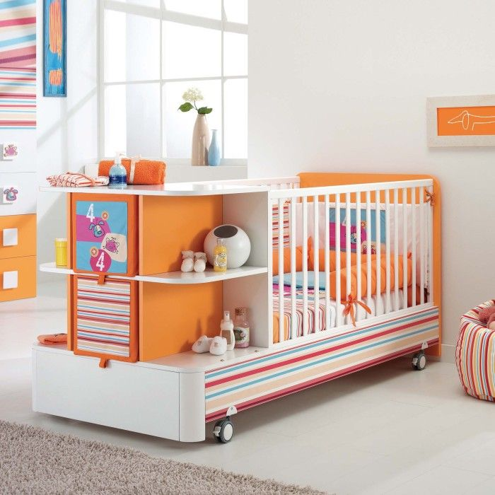 wonderful storage and colors on this crib #babyfurniture | kids ...