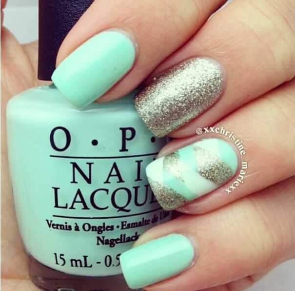 Mint Green Prom Nail: Oh Snap! Mint, White, And Silver Fishtail Nails On The