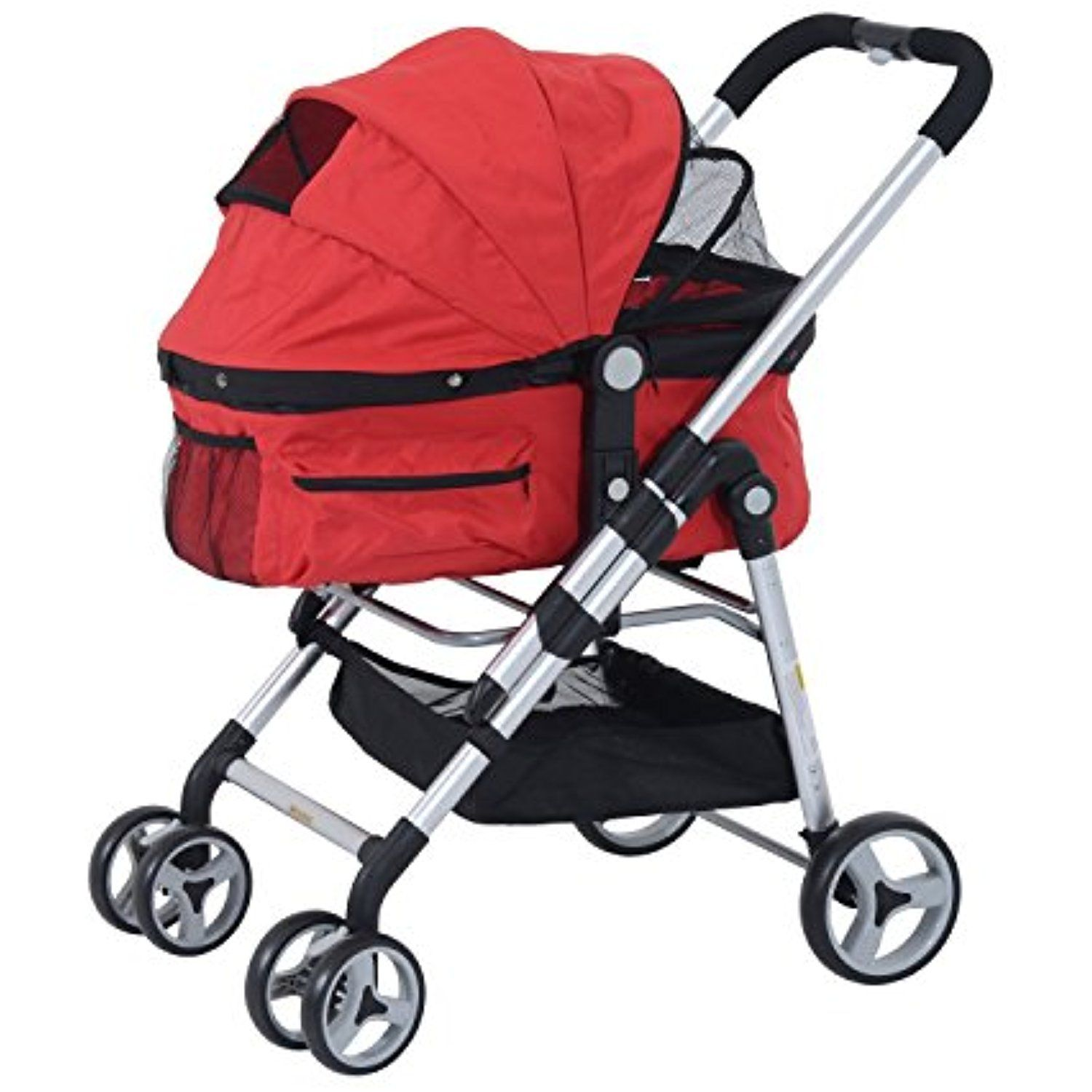 Pawhut Four Wheel Cat/ Dog Pet Stroller Red * Check this