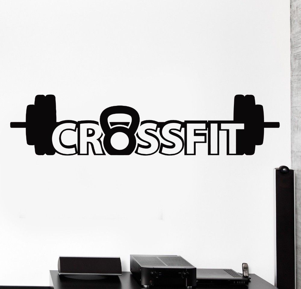 2016 New Wall Sticker Sport Crossfit Barbell Dumbell Bodybuilding Vinyl Decals Cacar Diy Wall Stickers Home Decor Wall Stickers Sports Wall Sticker Crossfit [ 961 x 1000 Pixel ]