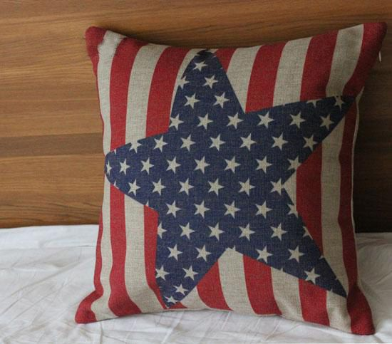 18inch Printing America Flag Pillow Case Cotton Linen Cushion Cover Bedding Pillow Covers American Flag Pillow Patriotic Pillow July Crafts