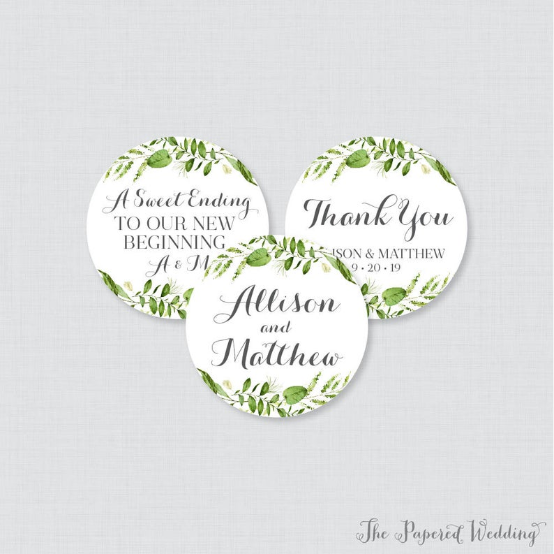 Printable Or Printed Wedding Stickers Greenery Circle Etsy In 2020 Wedding Stickers Personalized Wedding Favor Tags Personalized Wedding Stickers