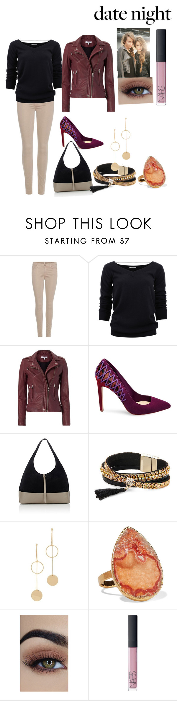 """Date Night: The Game"" by alainab2231 on Polyvore featuring 7 For All Mankind, Brunello Cucinelli, IRO, B Brian Atwood, Tomas Maier, Simons, Cloverpost, Dara Ettinger, NARS Cosmetics and DateNight"