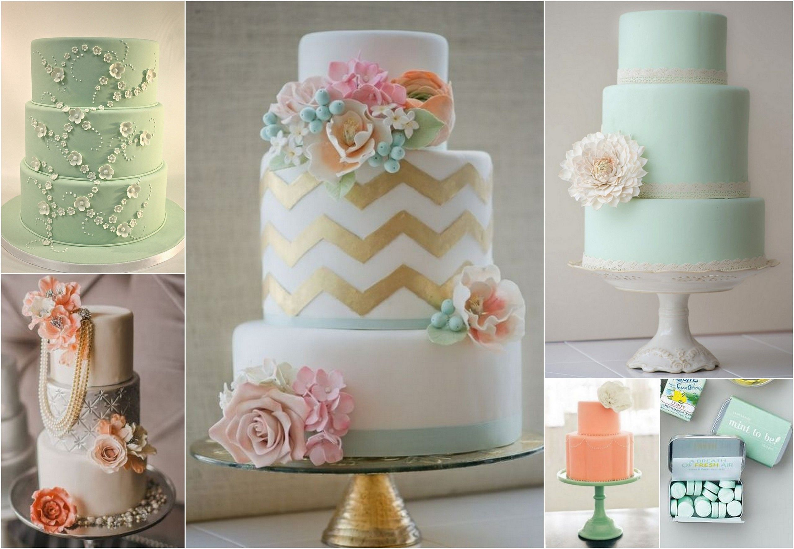 peach and light blue wedding cake mint green and wedding confetti daydreams 18131