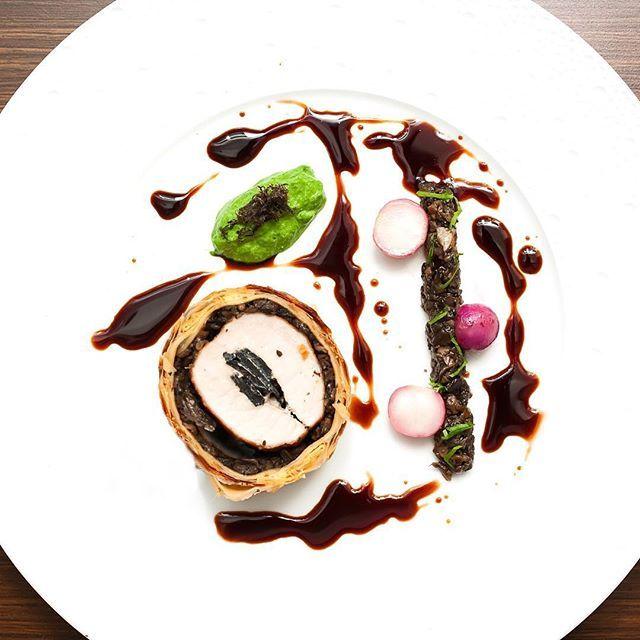 Truffled pork Wellington spinach purée mushroom ragout cherry gastrique by lennardy