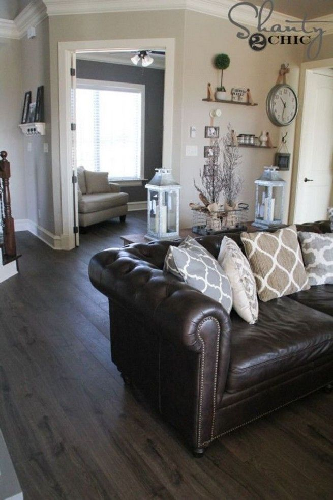 Grey living room walls brown couch leather sofas color ...