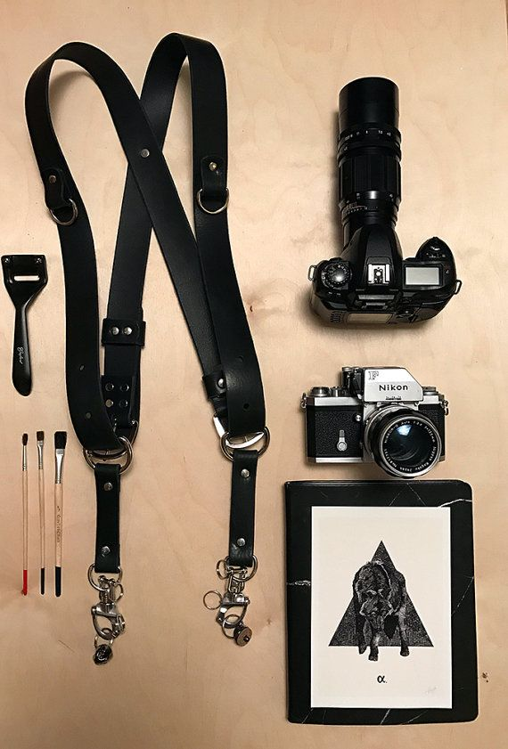 Dual Camera Strap Leather Camera Body Harness by PrettyDeadCow
