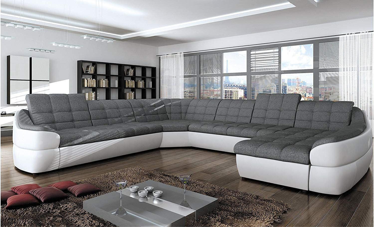 Bmf Infinity Xl White Grey 6 Seater Extra Large Faux Leather