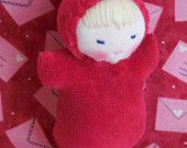 Pocket baby, Red Valentine Miniature Doll made in the Waldorf Tradition,  waldorf toy