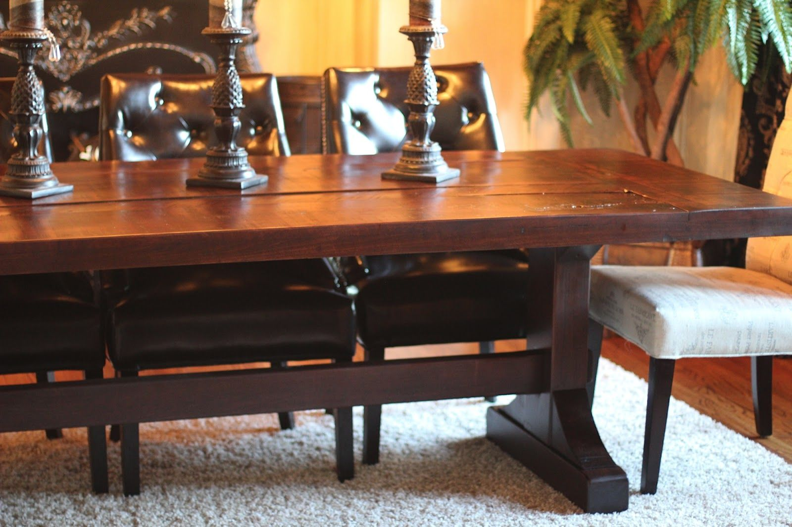 Make A Rustic Dining Table The Emerson Rustic Distressed Trestle - How to make a country kitchen table