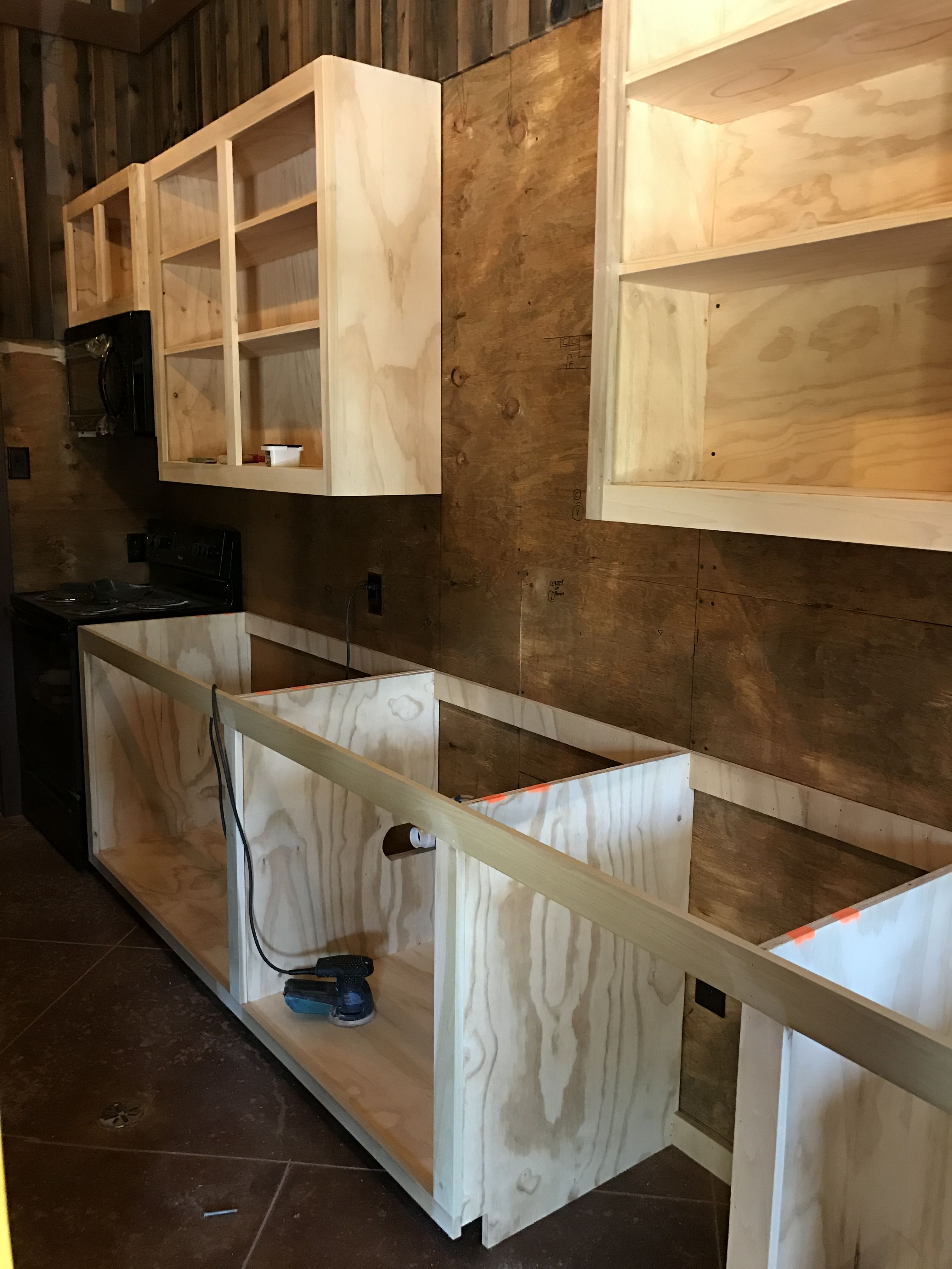 plywood cabinets  Garage in 2019  Building kitchen