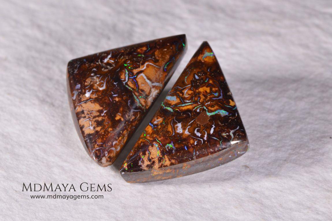 Australian Boulder Opal Pair 20.98 ct Australian boulder