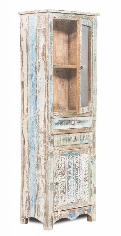 Shabby chic m bel vitrine 60x185x40cm massiv wohnzimmer for Indische mobel kleiderschrank