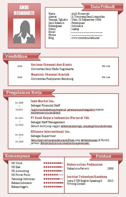 Pin Oleh A Di Cv Template Free Word Dan Resume