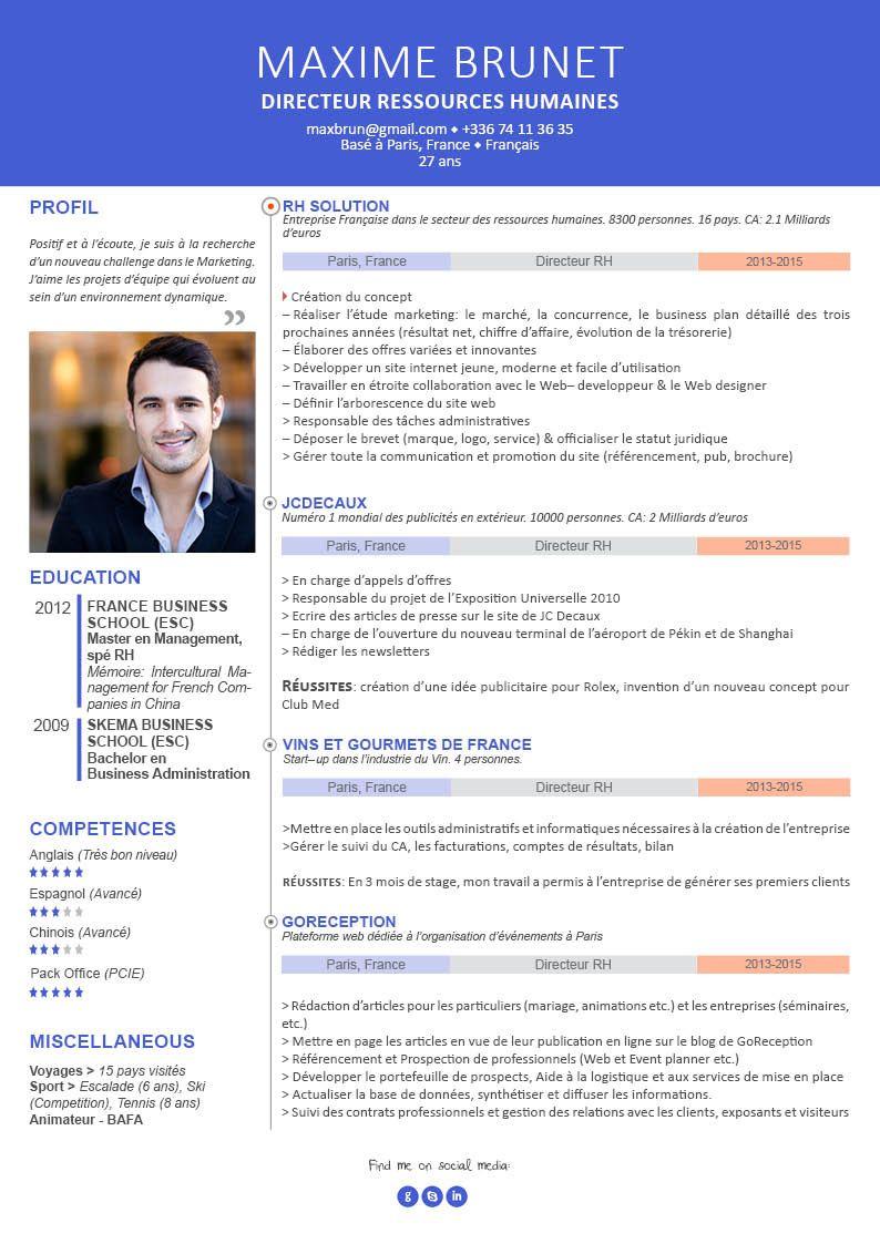 CV pour cadre curriculum vitae professionnel