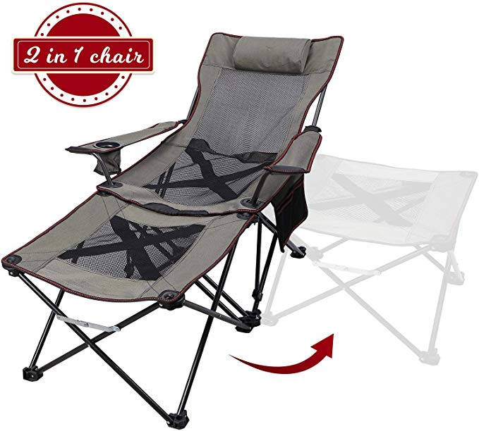 Amazon Com Xgear 2 In 1 Folding Camping Chair Recliner Folding Chaise Lounge Chair With Detachable Table Footstool Ca In 2020 Chaise Lounge Chair Camping Chair Chair