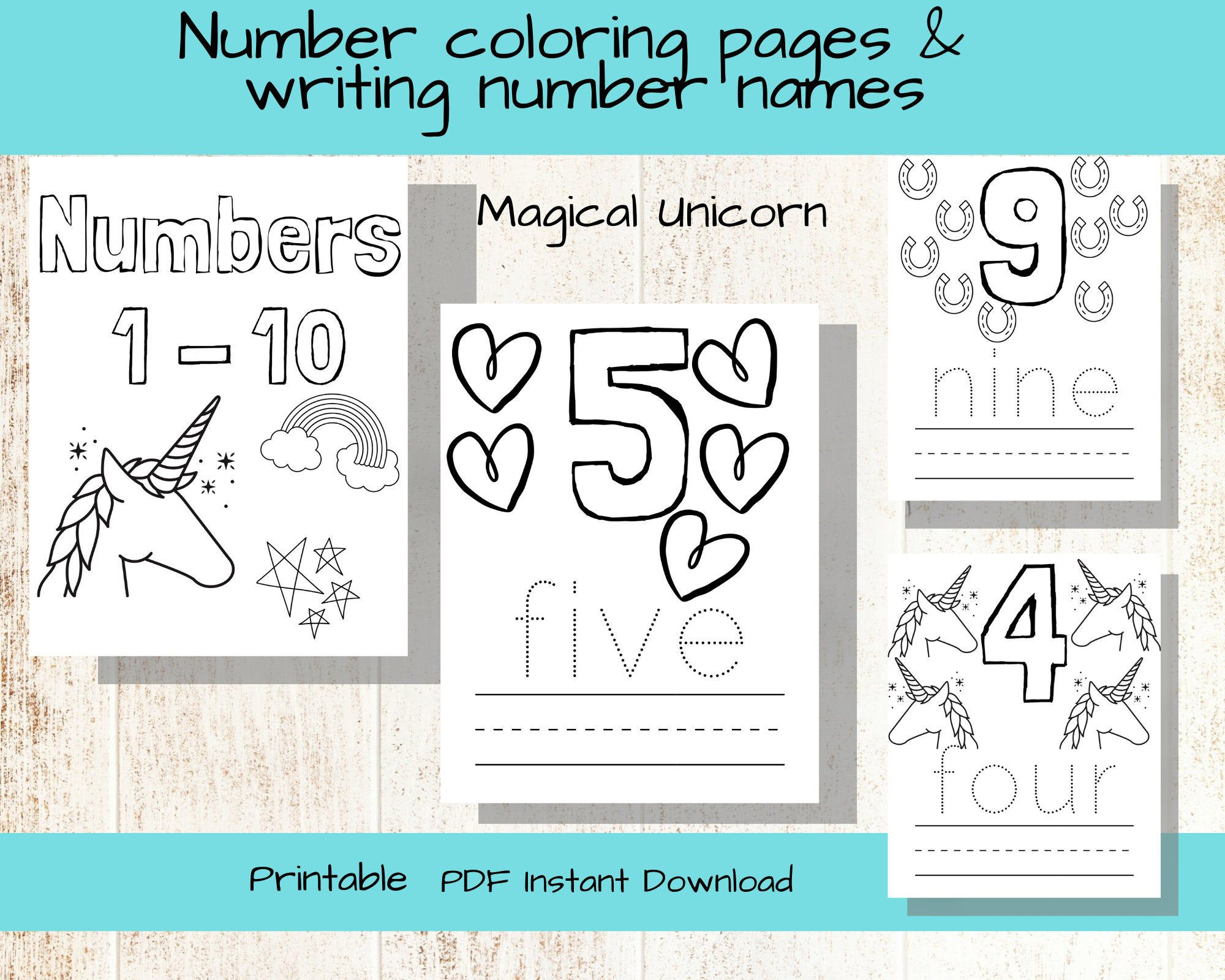 Number Coloring Pages Number Worksheet Magical Unicorn Etsy Number Worksheets Cool Coloring Pages Alphabet Coloring Pages