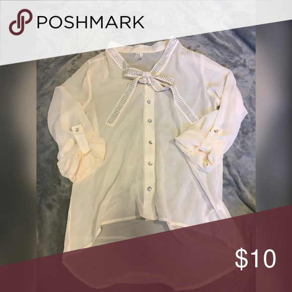 38cf5a9c71fd White Maurice s Blouse Beautiful white  cream colored sheer blouse with  rhinestone buttons. Flowy so it runs a little bigger Maurices Tops Blouses