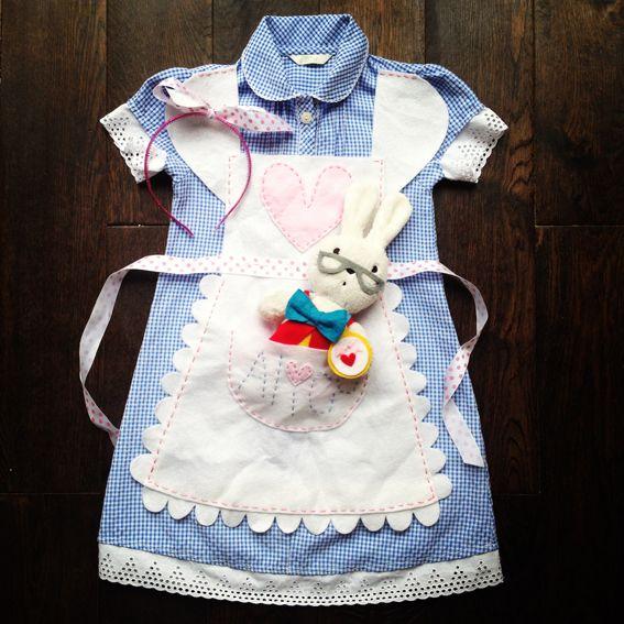 DIY hand made Queen Kwak Alice in Wonderland girl child costume white rabbit frill apron fancy dress school summer dress refashion ribbon felt