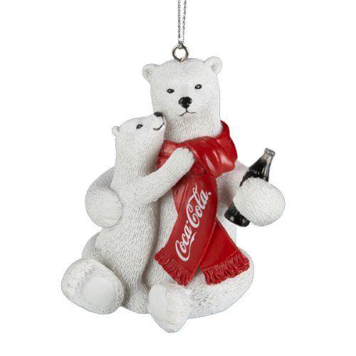 Coca-Cola Kurt S Adler Polar Bear Cub in Santa Hat Holiday Christmas Ornament