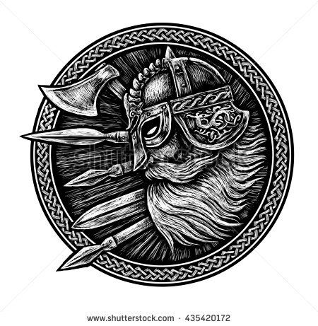 Ancient Viking Head In A Ring With Scandinavian Ornament Logo For Mascot Design Graphic Illustration The Ax A Swor Viking Art Viking Symbols Nordic Tattoo