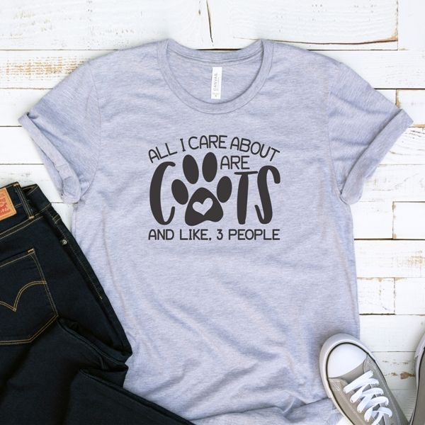 T-Shirt All I Care About Are Cats Pet Lover #animalrescue