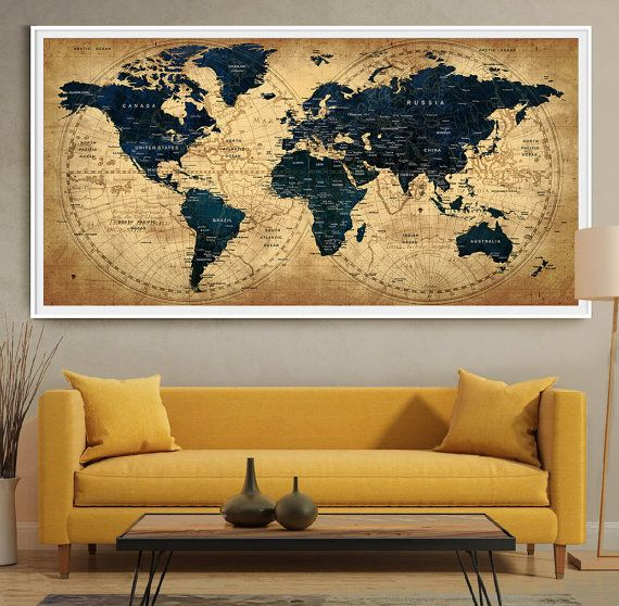 Decorative extra large world map push pin travel wall art poster