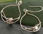Dark Pearl Nest and Branch Dangle Earrings in Sterling Silver