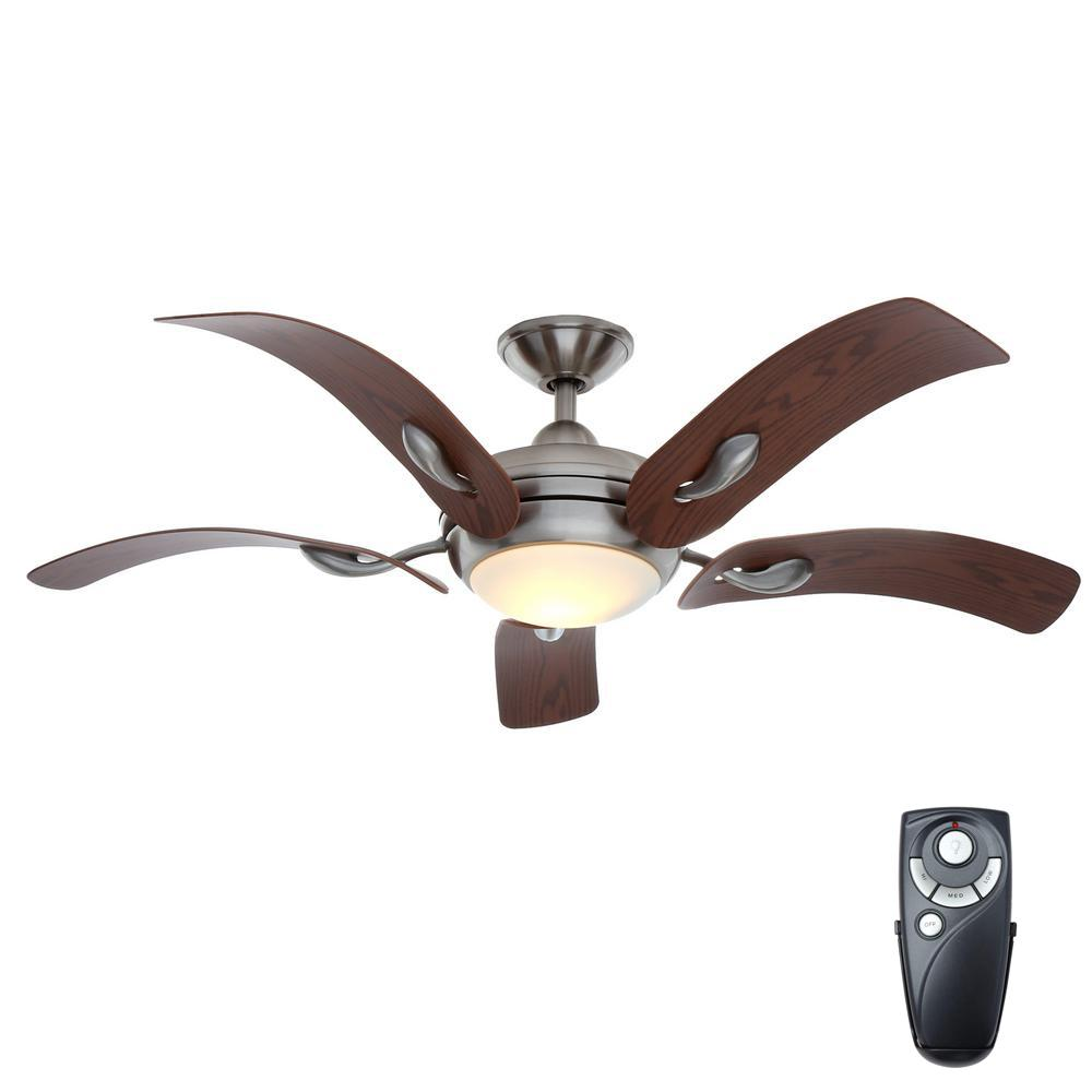 Home Decorators Collection Cassaro II 52 In. Indoor Brushed Nickel Ceiling  Fan With Light Kit