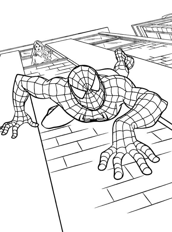 spiderman slip down coloring page