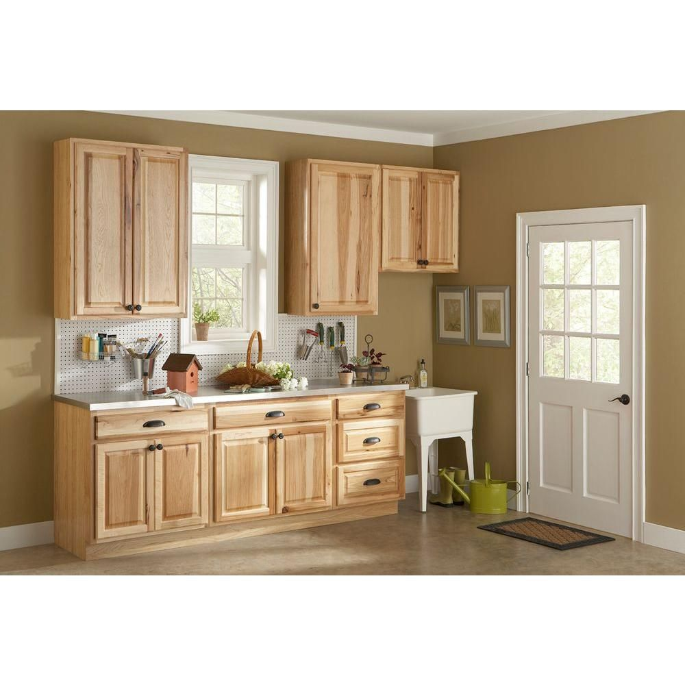 Small Galley Kitchen Design with Home Depot Natural Hickory Kitchen