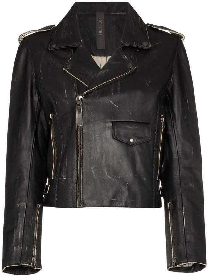 Lot Lthr Cropped Zip Jacket Front Leather Biker rrnfS