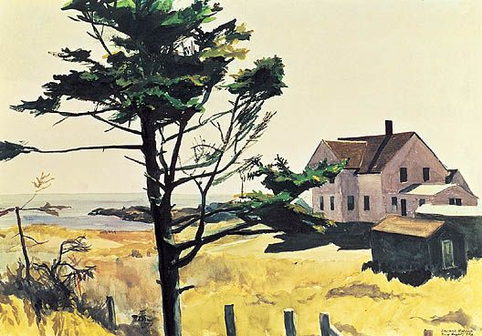 Edward Hopper Maine image | Bill Latham's House 1927 watercolor 35.6 x 50.8 cm Mr. Daniel Koshland ...