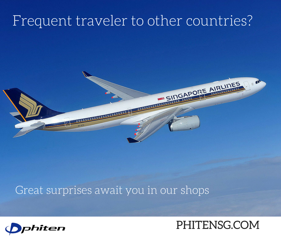 Love traveling outside the country? We have great perks awaiting for you as a frequent flyer. Visit us in our Phiten SG shops to know more ‪#‎singaporeanflyer‬