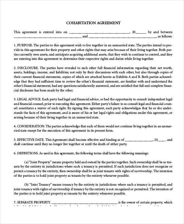 Free Printable Cohabitation Agreement Template Pinterest Free