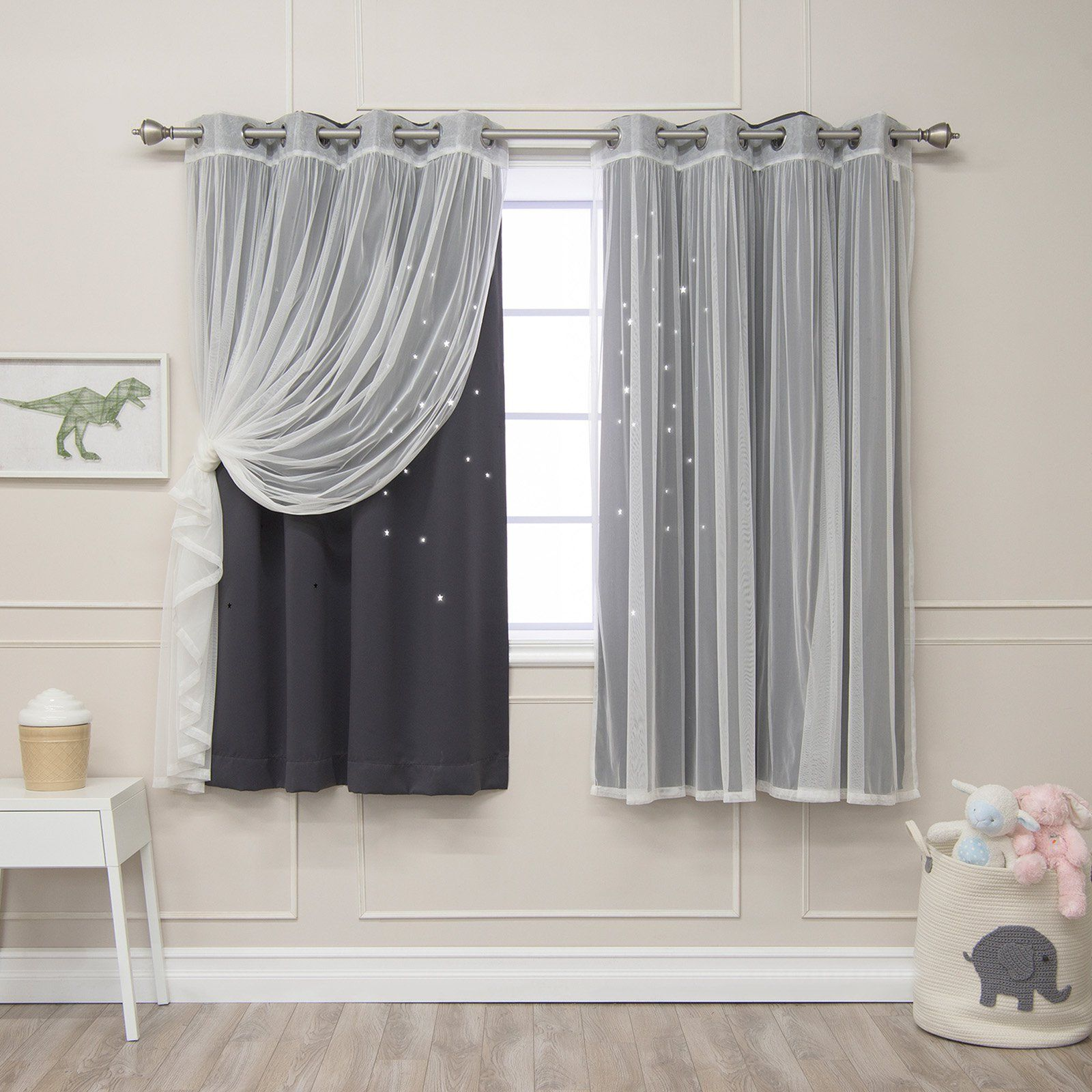 Best Home Fashion Mix And Match Star Punch Blackout And Tulle