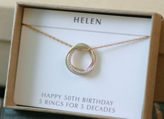 50th Birthday Gift For Sister Jewelry 5 Best Friends Necklace Interlocking Rings Her 5th Anniversary