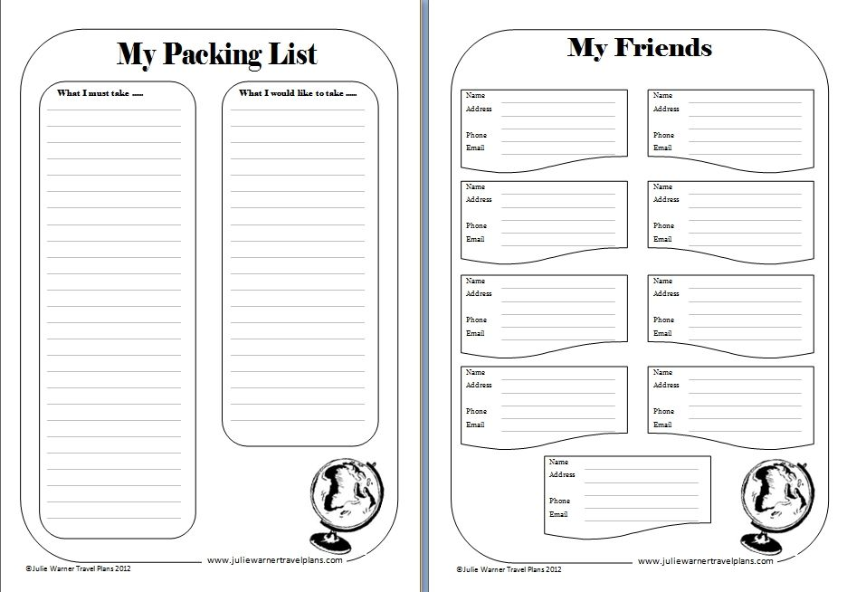 printable travel journal template