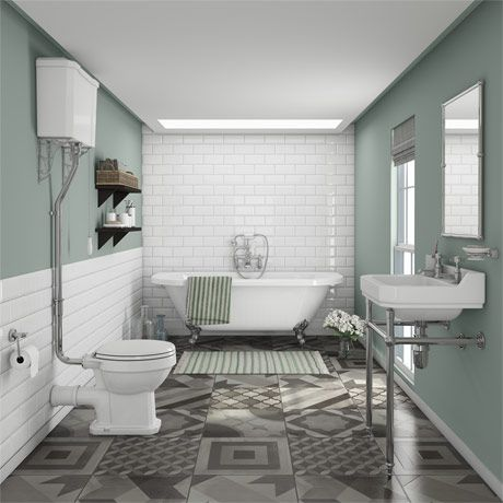 Newbury Traditional Backtowall Roll Top Bath Suite  Roll Top Beauteous Top Bathroom Designs Decorating Inspiration