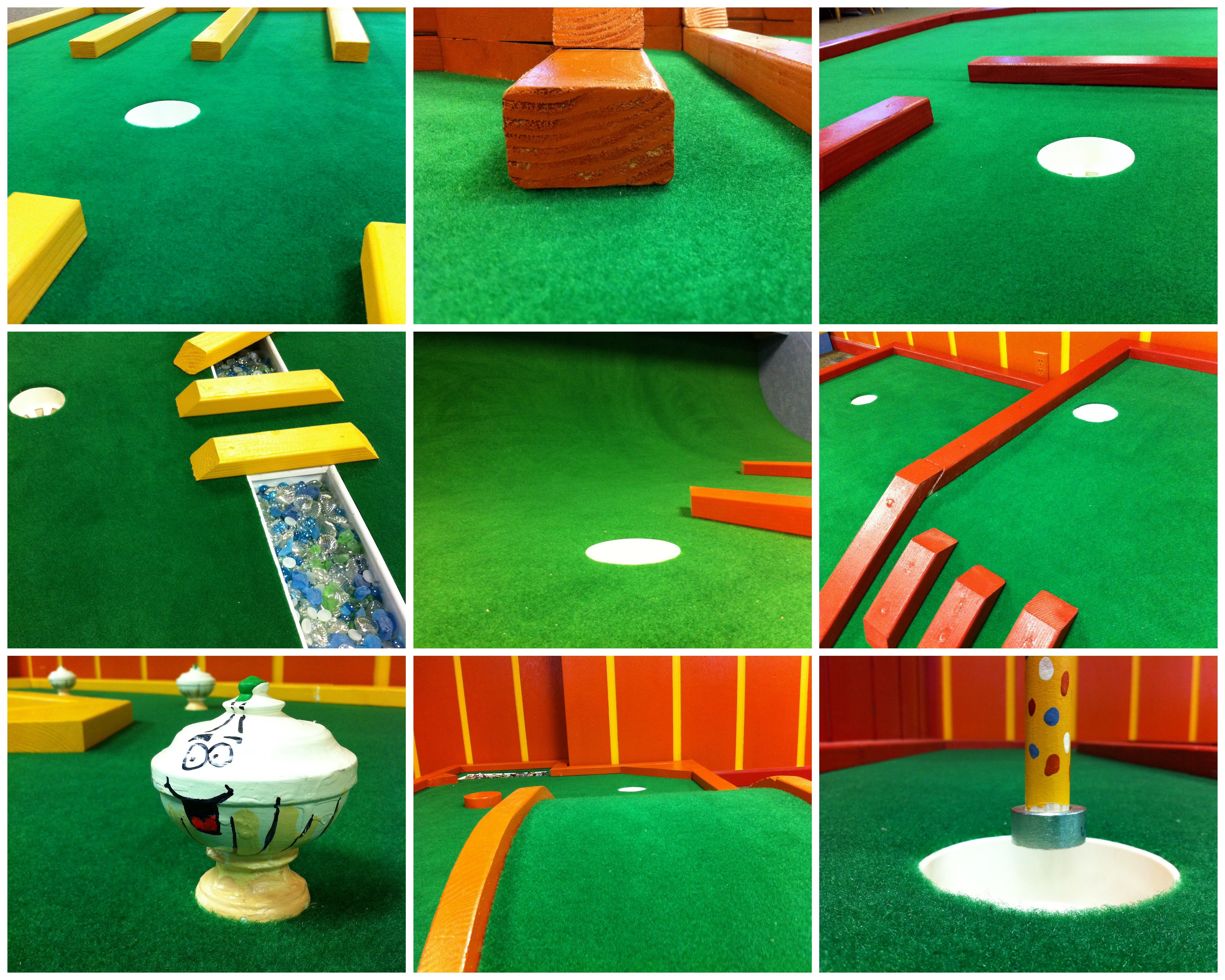 Close ups of the nine-hole indoor course at The Sweet Putt (www.thesweetputt.com)