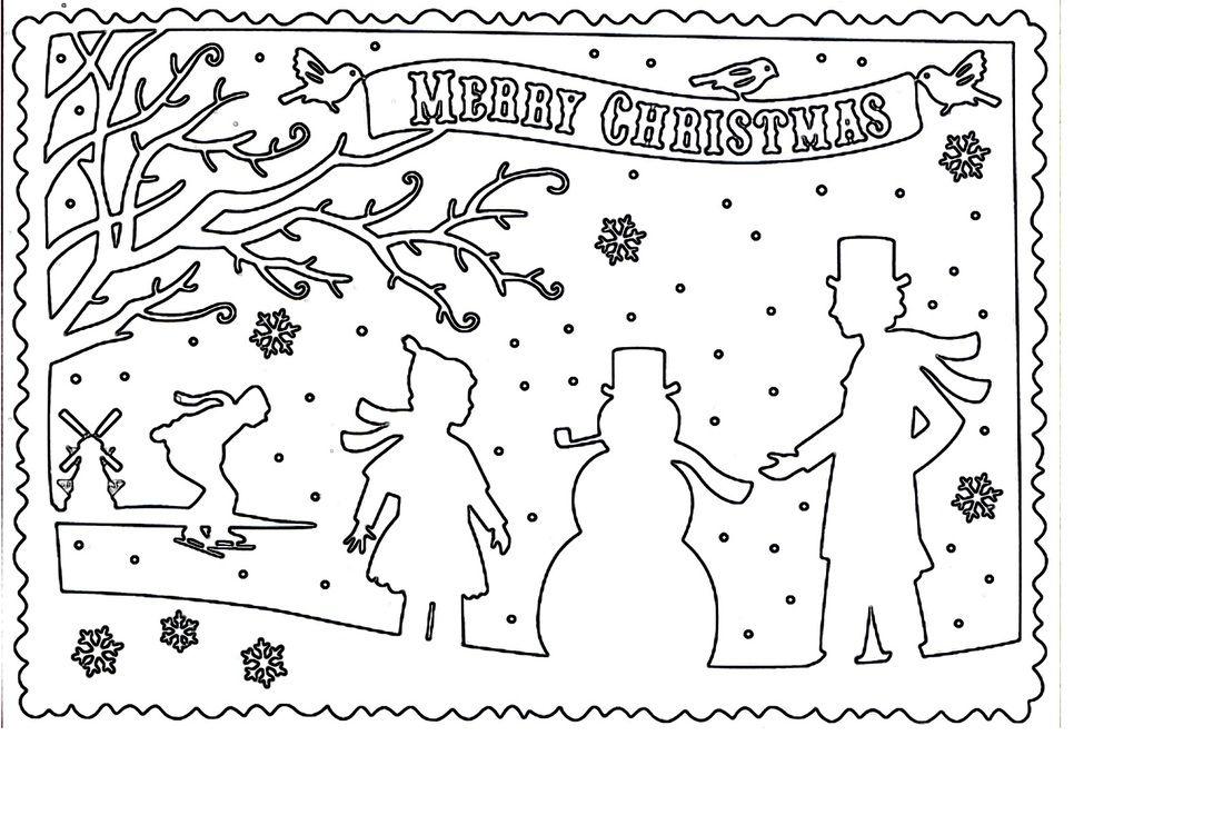 Christmas scene outline craft pattern