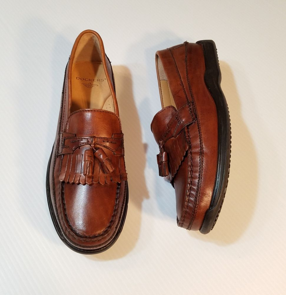 ab439f7f1a4 Dockers Mens Sinclair Brown Leather Dress Casual Tassel Slip on Loafer Shoe  11M