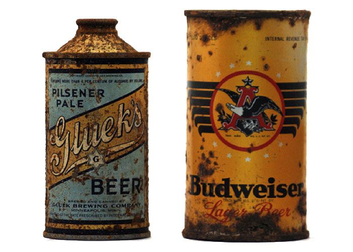 This is what beer cans used to look like?! I wonder how many people accidentally downed a bunch of motor oil back then.