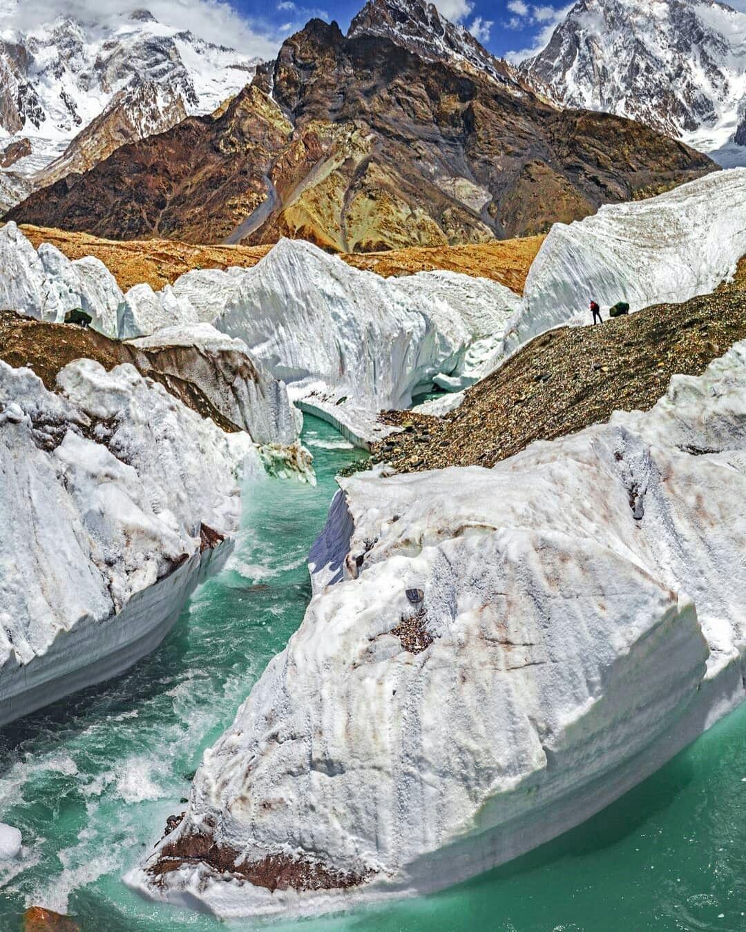 Glacial River On Boltoro Glacier At Concordia Karakoram Range K2 Track Gilgit Baltistan Pakistan