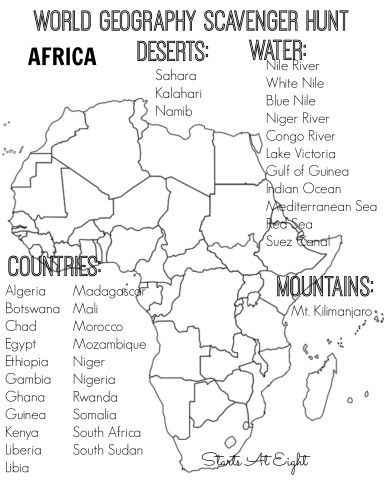 World geography scavenger hunt africa free printable geography world geography scavenger hunt free printable africa from starts at eight gumiabroncs Gallery
