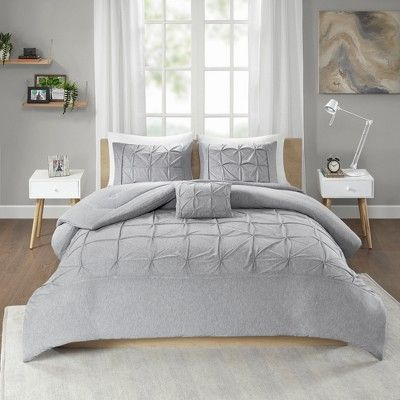 3pc Twin Twin Xl Leila Tufted Comforter Set Gray Size