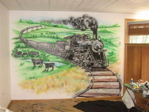 Black Train Wall Murals Design Ideas Kids Wall Murals Mural Design Wall Murals