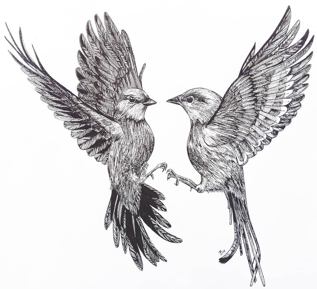 Life Is Just Better With Animals Around Check Out More Art From Inga Bart Flying Bird Tattoo Birds Tattoo Two Birds Tattoo