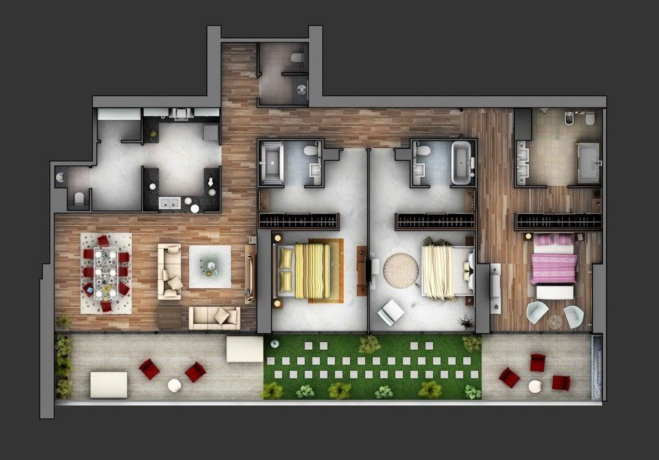 50 Three 3 Bedroom Apartment House Plans Architecture Design Apartment Floor Plans House Plans Three Bedroom House Plan